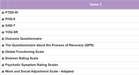 Screenshot of Mental Health & Substance Abuse Assessments