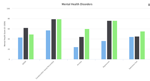Screenshot showing targeted treatment for mental health disorders